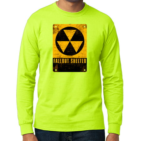 Mens Shelter Cloth (Men's Fallout Shelter Sign Long Sleeve T-shirt - Safety Green,)