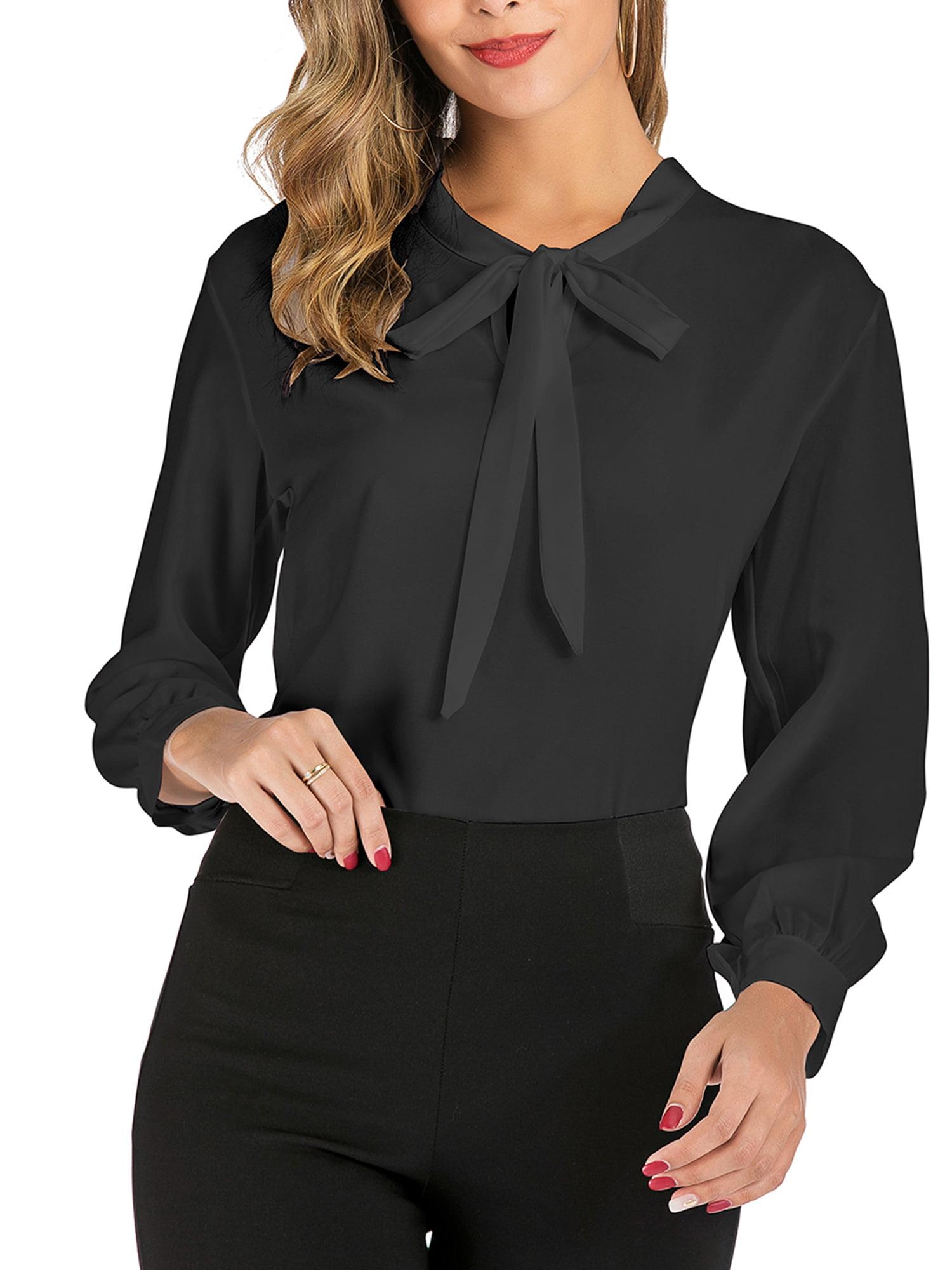 Lady Girl Chiffon Shirt Slim Ruffle Stand Collar Long Sleeve Top Blouse Retro