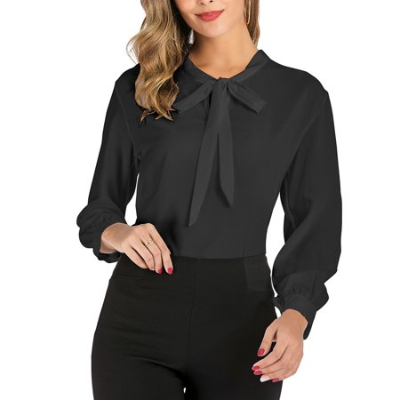 SAYFUT Women's Chiffon Blouse Long Sleeve Shirts Tops Bow Tied Neck Office Work Casual Slim Fit Shirt,Size M-3XL Chiffon Bow Front Blouse