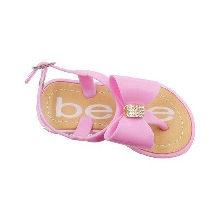 Rhinestone Slingback - bebe Toddler Girls Jelly Thong Slingback Flat Sandal With Rhinestone Bow 7/8 Light Pink