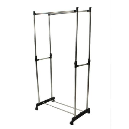 Manual Cloth Dryer Rack Stainless Steel Adjustable Height Clothes Coat Garment Dryer Rack Wheels Dual-bar Rail Hanging Hanger (93 Manual Rack)