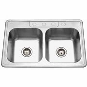 Houzer A3322-65BS4-1 ADA Glowtone Series Topmount Stainless Steel 4-hole 50/50 Double Bowl Kitchen Sink