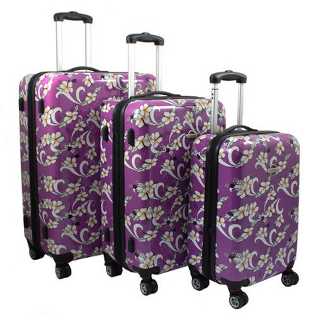 Tropical Flower 3-Piece Expandable Hardside Spinner Luggage Set - Purple (Expandable Flower)