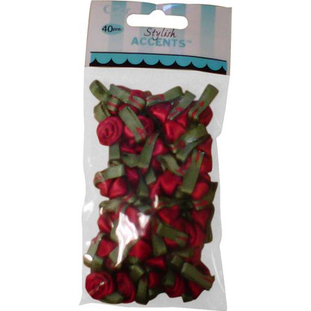 - Offray Stylish Accents Small Red Ribbon Roses, 40 Count