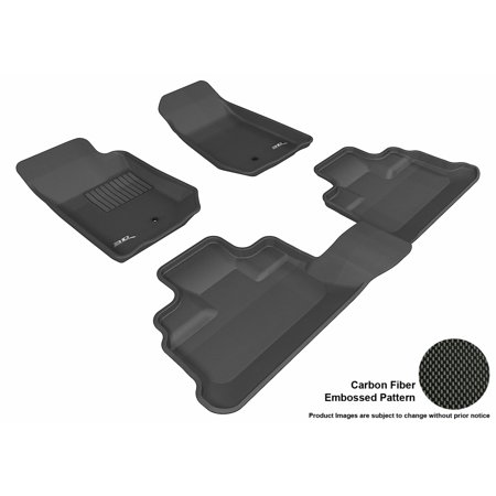 3D MAXpider 2007-2013 Jeep Wrangler Unlimited Front & Second Row Set All Weather Floor Liners in Black with Carbon Fiber