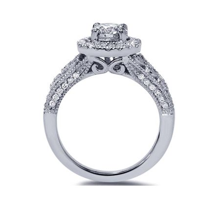 G/VS 1 1/5Ct Engagement Ring 100% Diamond White Gold Halo Solitaire Lab Created - image 1 of 4