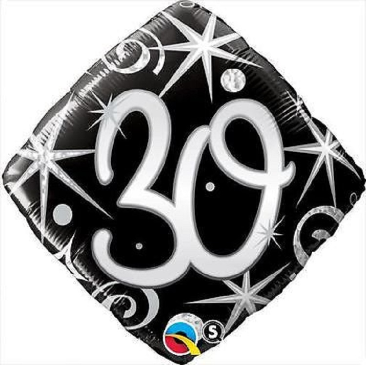 "18"" Elegant Sparkles 30TH Birthday Mylar Foil Balloon Party Decoration"