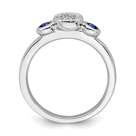 Sterling Silver Stackable Expressions Dbl Round Cr. Sapphire & Dia. Ring Size 9 - image 2 of 3