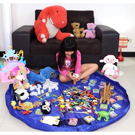 Kids Play Mat Toy Organizer - 60 inches Toy Storage Bag & Floor Mat - Portable Children's Play Mat for Lego/Magnetic Building/Blocks Convenient Fast Neat Portable-Blue ()