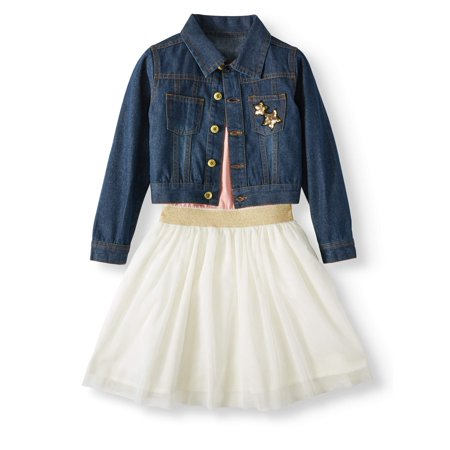 Tutu Dress and Denim Jacket, 2pc Outfit Set (Baby Girls & Toddler Girls)