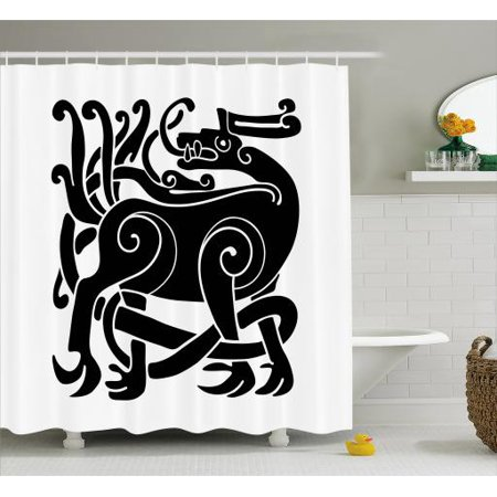 Celtic Shower Curtain, Celtic Cultural Mythic Animal Deer in Stylized Traditional Ornament for Samhain, Fabric Bathroom Set with Hooks, 69W X 84L Inches Extra Long, Black and White, by Ambesonne](Samhain Celtic Origins Halloween)
