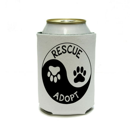 - Rescue Adopt Yin Yang - Paw Prints Animals Dogs Cats Can Cooler Drink Insulator Beverage Insulated Holder