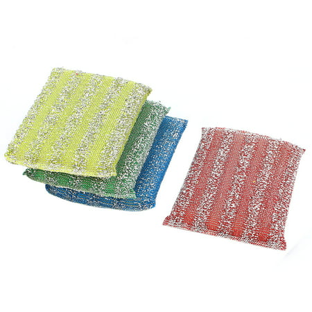 Bowl Dish Pot Steel Wire Sponge Cleaning Scrubber Scouring Pads 4 Pcs