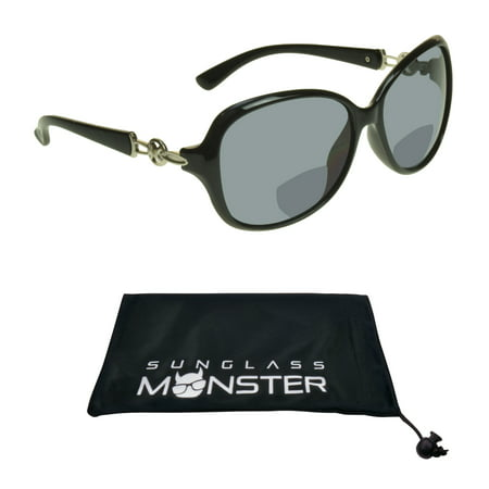 Sunglass Monster Womens Bifocal Sunglasses Reader with Sexy Oversized Black Frame with Silver