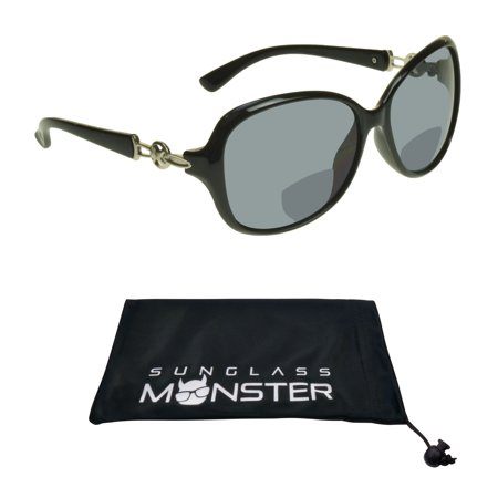 Sunglass Monster Womens Bifocal Sunglasses Reader with Sexy Oversized Black Frame with Silver (Nickel Silver Sunglass)