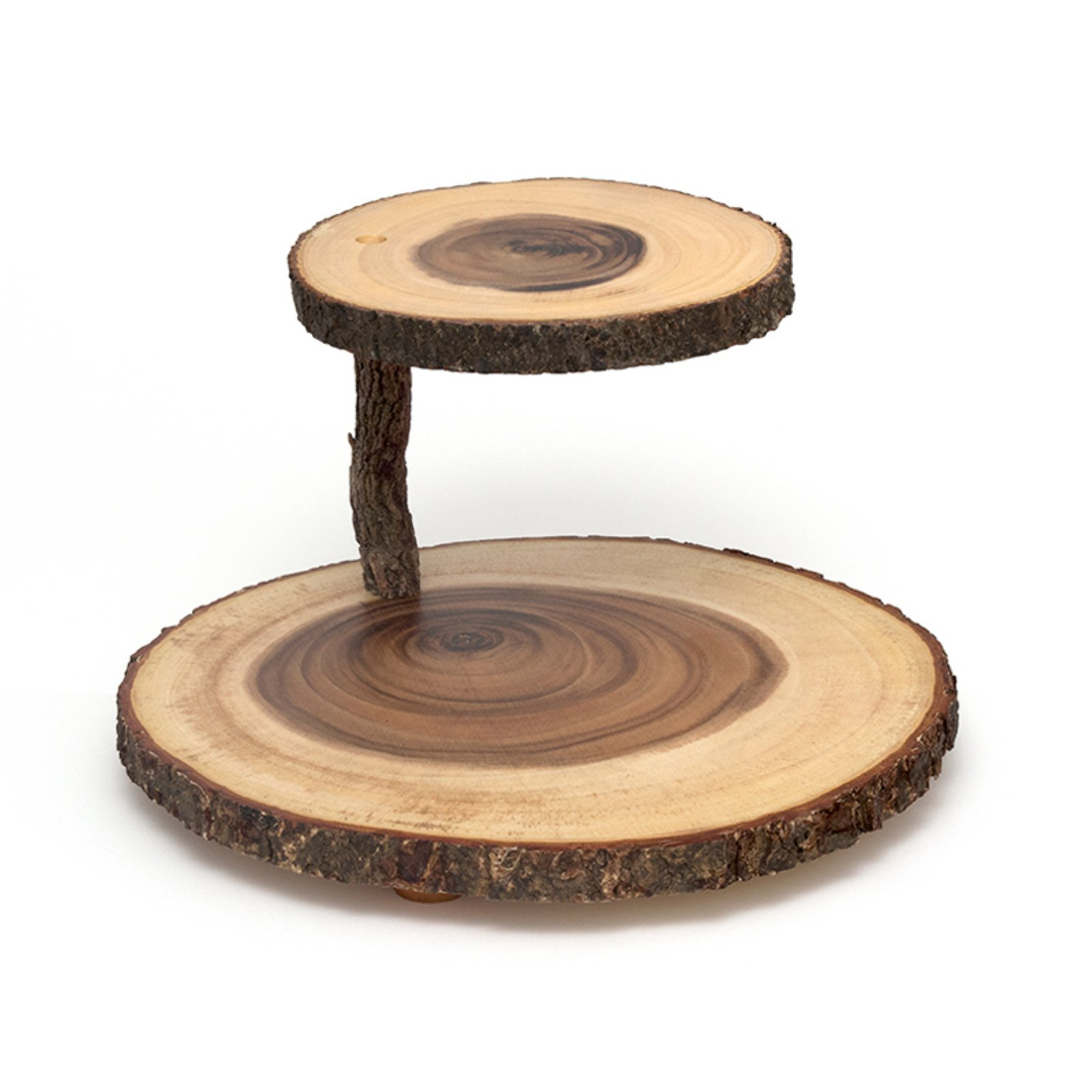 Lipper Acacia 2-Tier Tree Bark Server