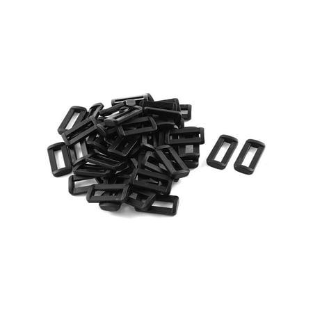 Unique Bargains 50pcs Black Plastic Bar Slides Buckles for 1