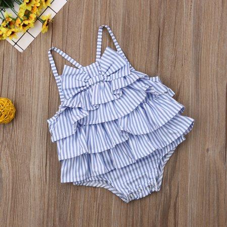 Print Striped Onesie (Baby Girls Striped Print Ruffles Cross Back Bodysuit with Bowknot Summer)