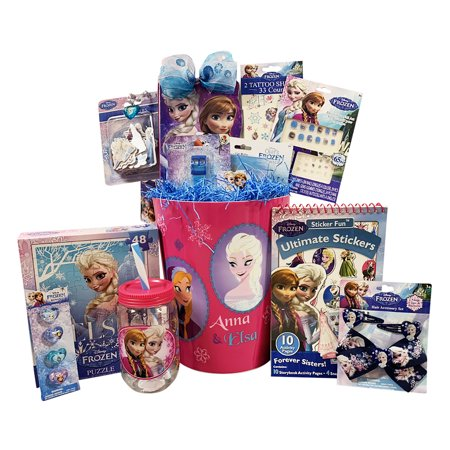 Gift Basket Idea 10 Frozen Themed Items for Girls With Bracelet, Novelties, Tin Purse, Diary, Nail and Hair Accessories - Sweet 16 Theme Ideas List