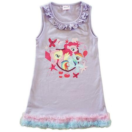 Wenchoice Girls Lavender My Little Pony Print Ruffle Cotton - Pony Dresses