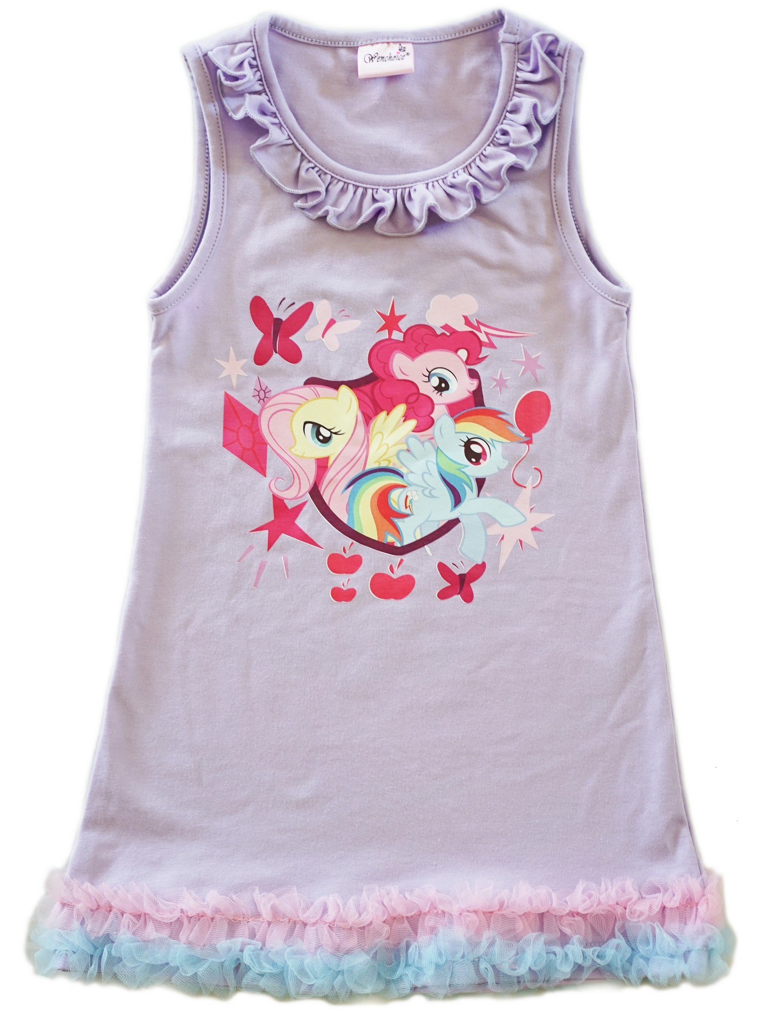 Wenchoice Girls Lavender My Little Pony Print Ruffle Cotton Dress