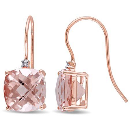 Signature Collection 14k Rose Gold Cushion-Shaped Morganite and Diamond Accent Hook Earrings (G-H, I1-I2) ()