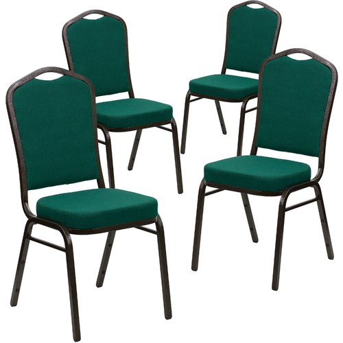 Flash Furniture 4pk HERCULES Series Crown Back Stacking Banquet Chair with Green Fabric and 2.5'' Thick Seat, Gold Vein Frame