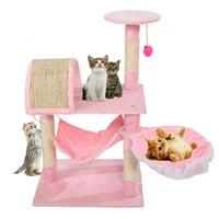 Zimtown 32 in Cat Tree Tower Condo Sisal Scratcher Hammock Toy , Pink