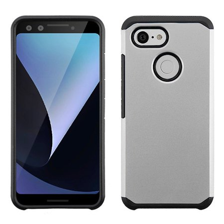 "Google Pixel 3 (5.5"") (2018 Model) - Phone Case Protective Shockproof Hybrid Rubber Rugged Cover Silver Slim Phone Case for Google Pixel 3"
