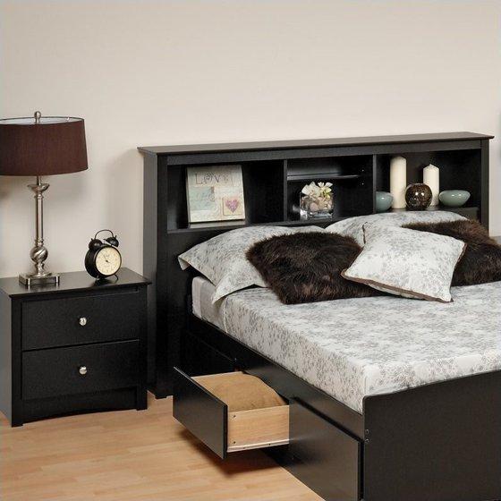 Prepac Sonoma Black Full Queen Wood Bookcase Headboard 2 Piece Bedroom Set