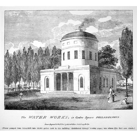 Philadelphia Water Works Nthe Water Works In Centre Square Philadelphia Pennsylvania  Where City Hall Now Stands  Designed By Benjamin Latrobe In 1799 Line Engraving 1800 By William Birch   Son Poster