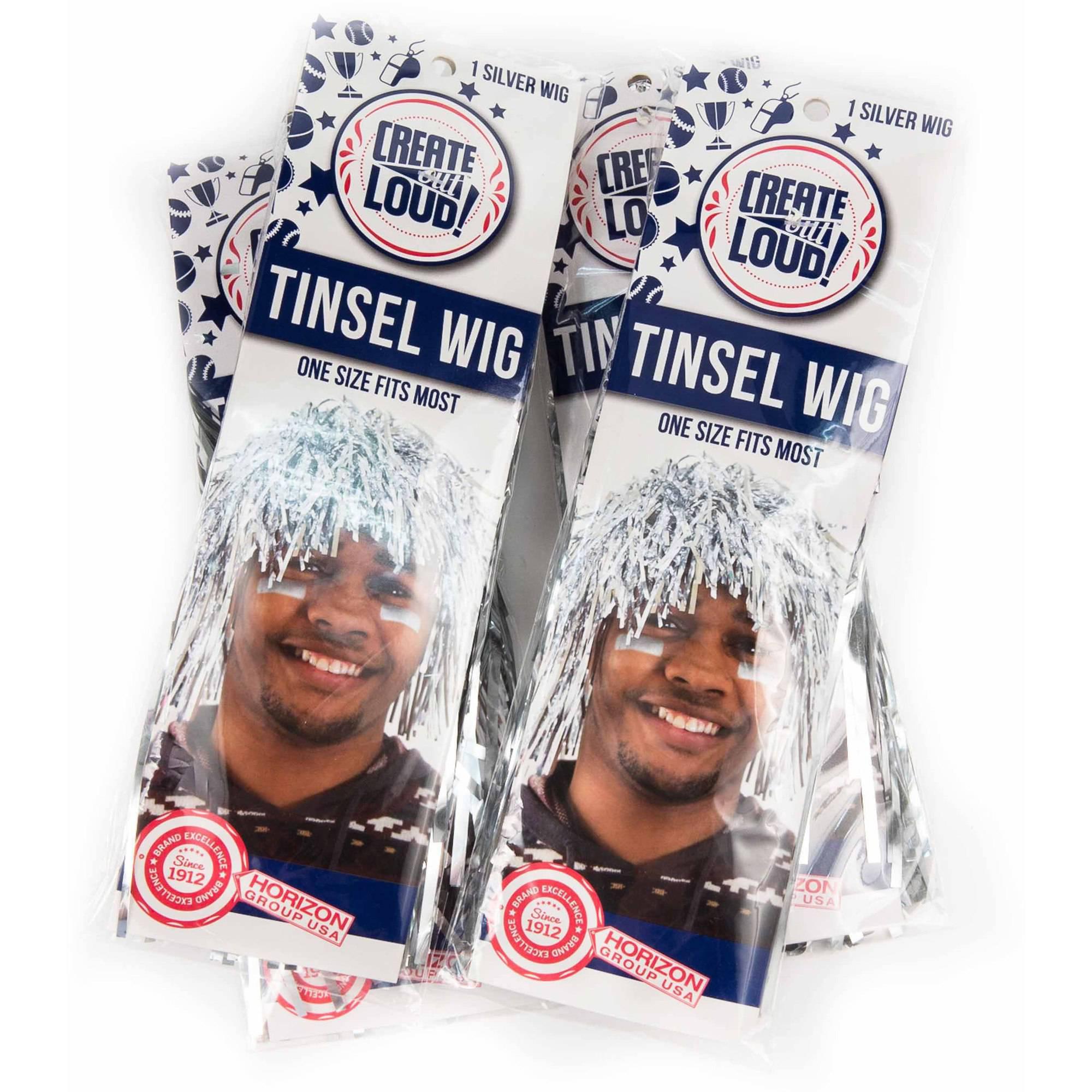 Horizon Group USA Create Out Loud Silver Tinsel Wig, 4pk