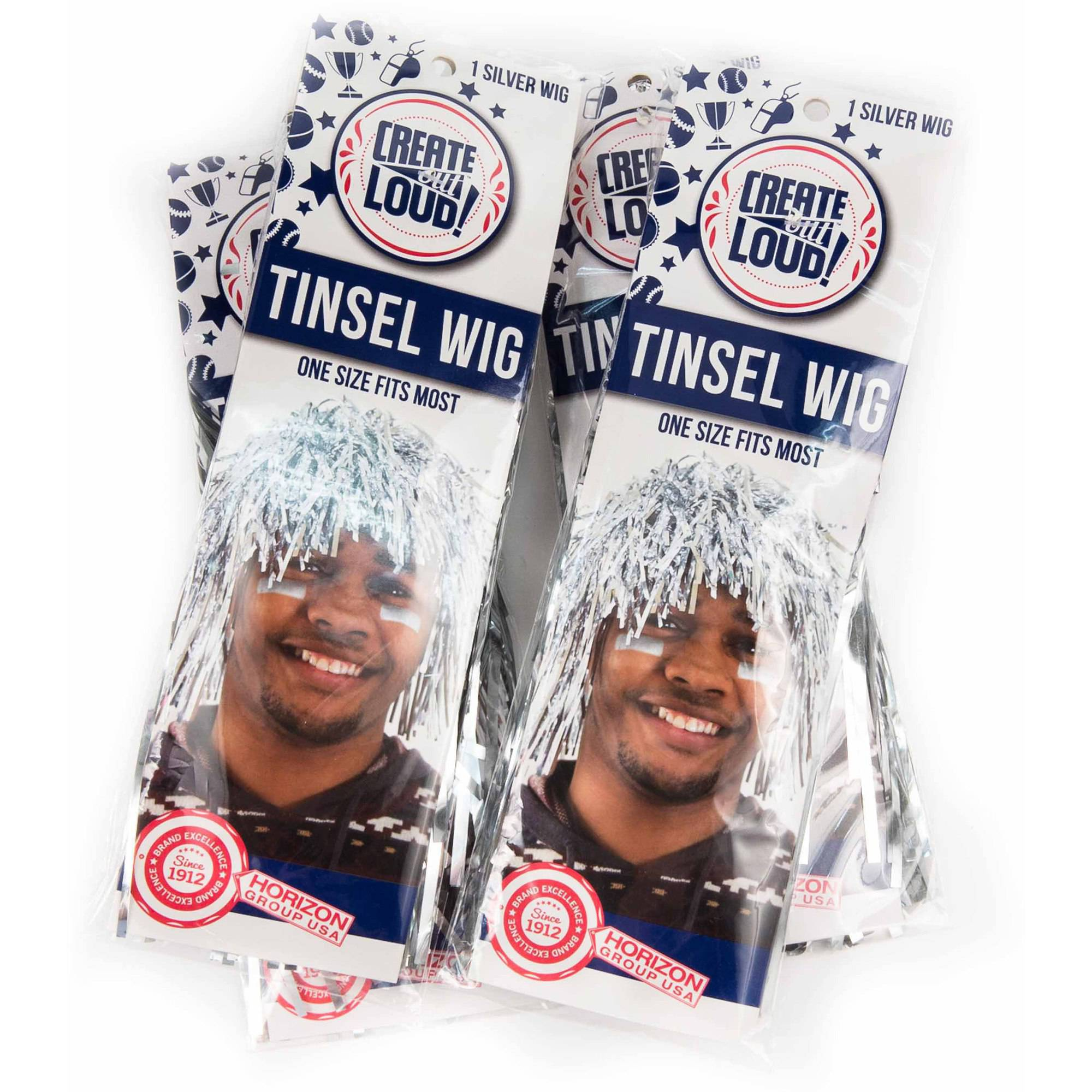 Horizon Group USA Create Out Loud Silver Tinsel Wig, 4pk