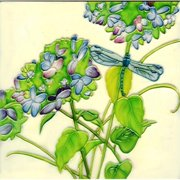 En Vogue B-253 Allium with Dragonfly - Decorative Ceramic Art Tile - 8 in. x 8 in.