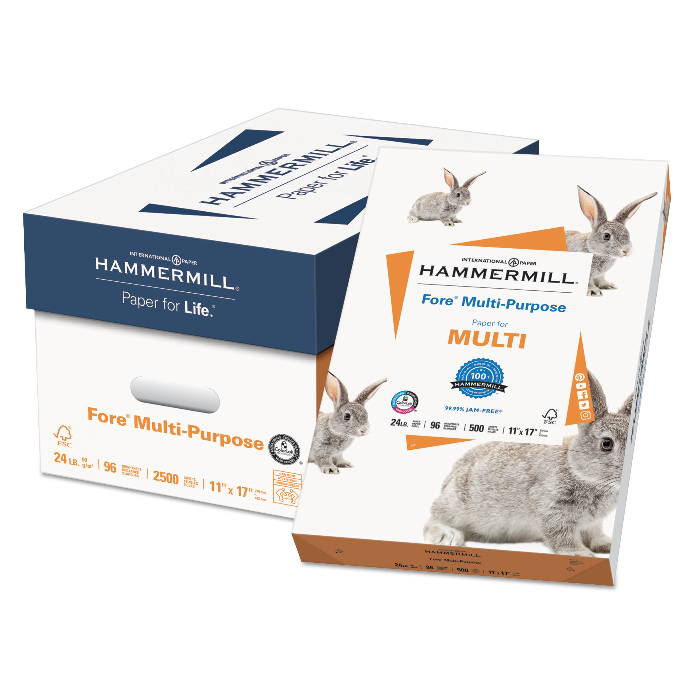 Hammermill Fore Multipurpose Paper, 96 Bright, 24lb, 11 x 17, White, 500 Sheets/Ream -HAM102848