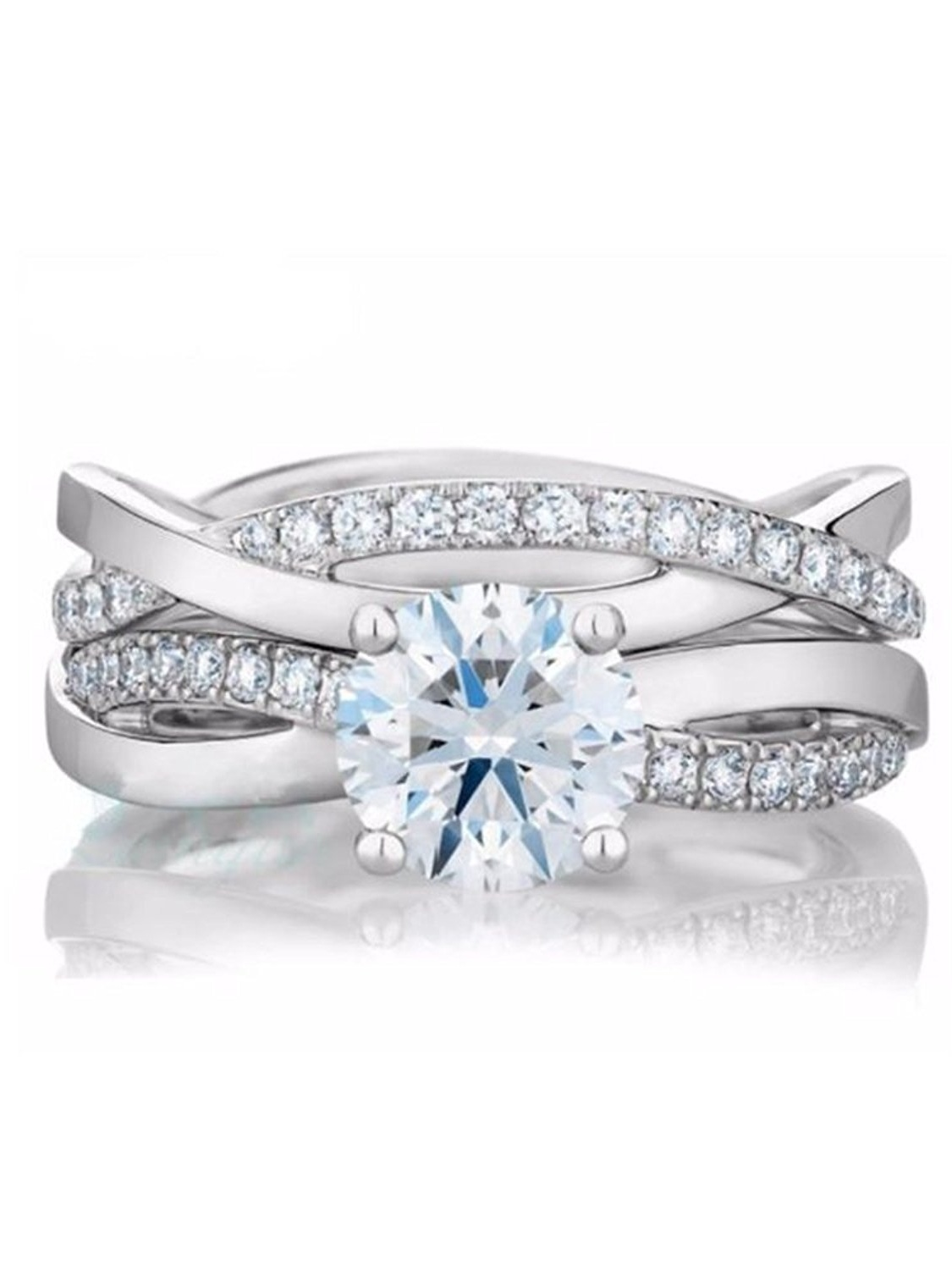 Queena Engagement and Wedding Band Ring Set 925 Sterling Silver