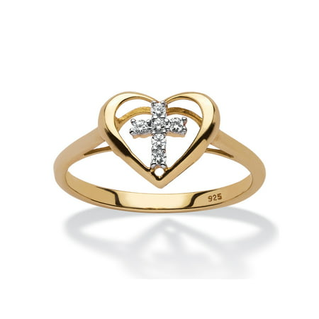 Accented Cross Ring (Diamond Accent Floating Cross Heart Ring in 18k Yellow Gold over Sterling)
