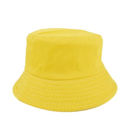 d6728ed8 Opromo - Opromo Kids Cotton Twill Bucket Hat, Children Summer Outdoor Sun  Protection Hat-Yellow-2 PCS - Walmart.com
