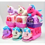 1 Small Pet Shop Toy Unicorn, Cat, Dog + Carrying Case Kids Cute Magical Pony Stuffed Animal Plush Christmas Gift Unicornio (color may vary)