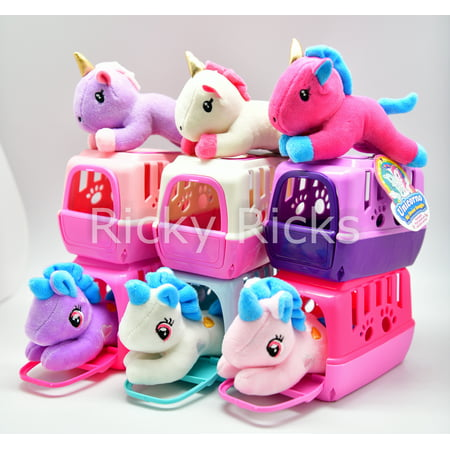 1 Small Pet Shop Toy Unicorn, Cat, Dog + Carrying Case Kids Cute Magical Pony Stuffed Animal Plush Christmas Gift Unicornio (color may vary) ()