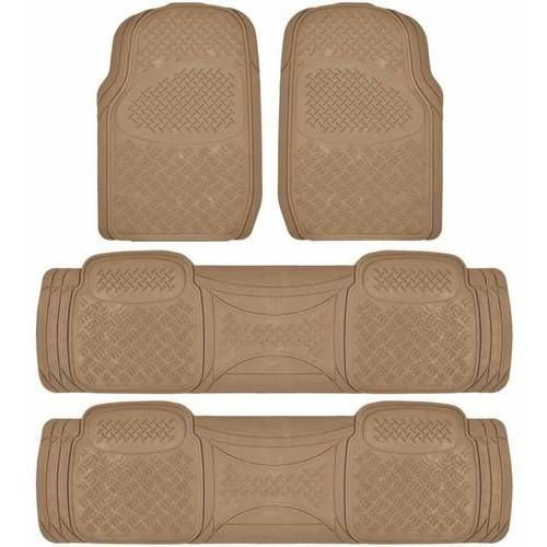 BDK Super Duty Rubber Floor Mats for Car SUV and Van 3 Rows, All Weather, Heavy Duty, 3 Colors