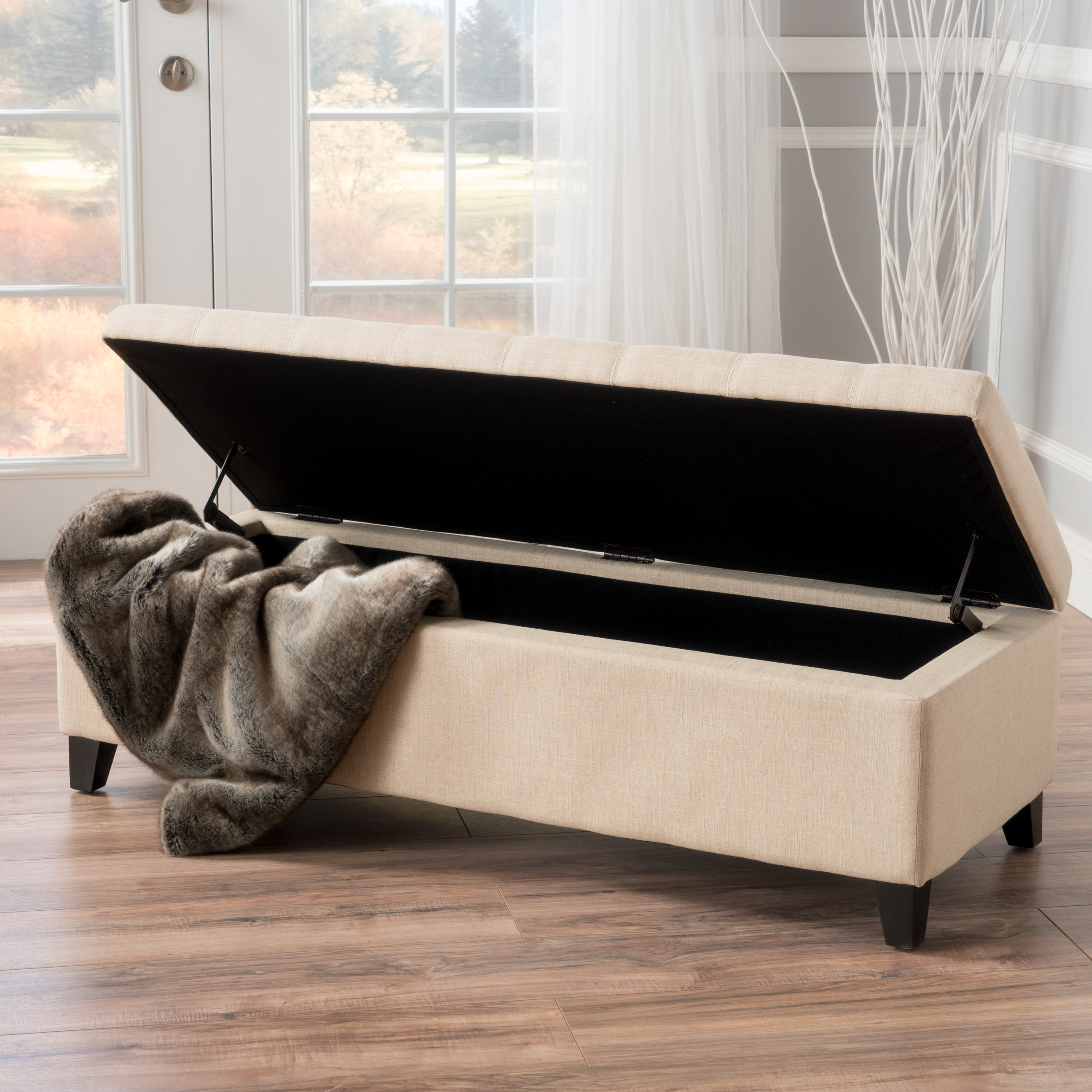 Munford Beige Tufted Fabric Storage Ottoman Bench