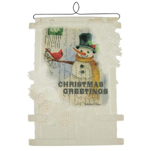 """20"""" Country Rustic """"Christmas Greetings"""" Decorative Snowman Card Holder Wall Hanging"""