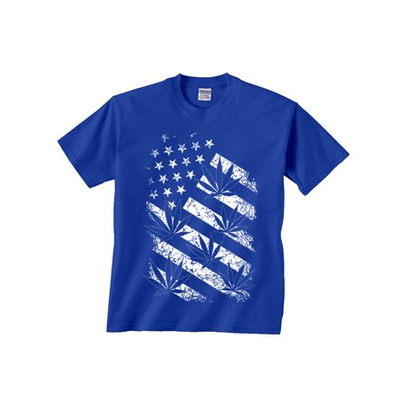 USA Flag Marijuana Leaf distressed T-Shirt