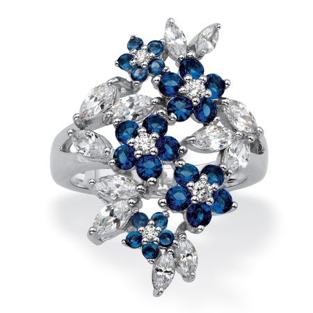 Simulated Blue Sapphire and Cubic Zirconia Floral Cluster Ring 2.41 TCW in Silvertone