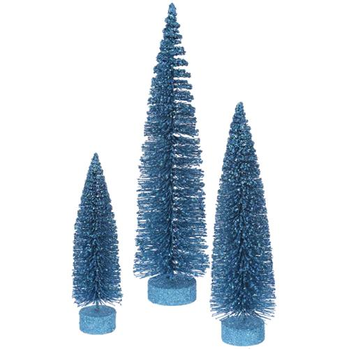 Set of 3 Turquoise Glittery Oval Artificial Christmas Tree - Unlit
