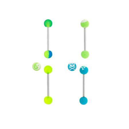 Body Magic 316L Steel and Surgical Grade Material 4-Piece Glow-in-the-Dark Ball Barbell Set 316l Surgical Steel Material