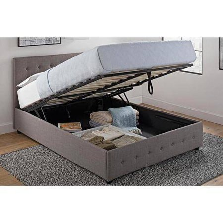 Dhp Cambridge Upholstered Bed With Storage Gray Linen