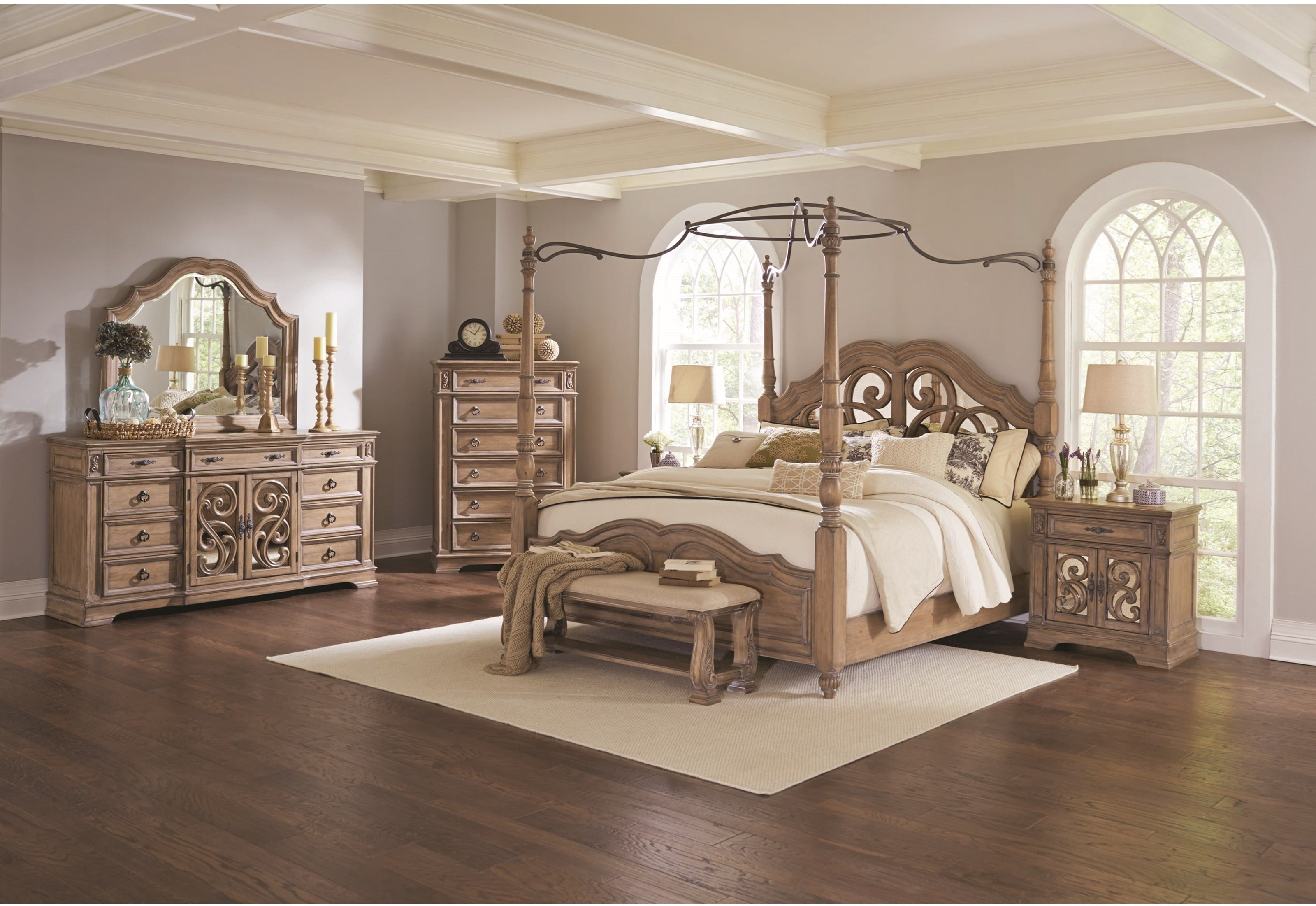 Image of: Traditional Canopy Queen Size Bed Bedroom Furniture 4pc Set Light Finish Beautiful Matching Dresser Mirror Nightstand Walmart Com Walmart Com