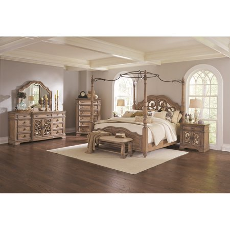Traditional Canopy Queen Size Bed Bedroom Furniture 4pc Set Light Finish Beautiful Matching Dresser Mirror Nightstand ()